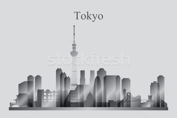 Tokyo silhouette bâtiment Skyline architecture Photo stock © Ray_of_Light