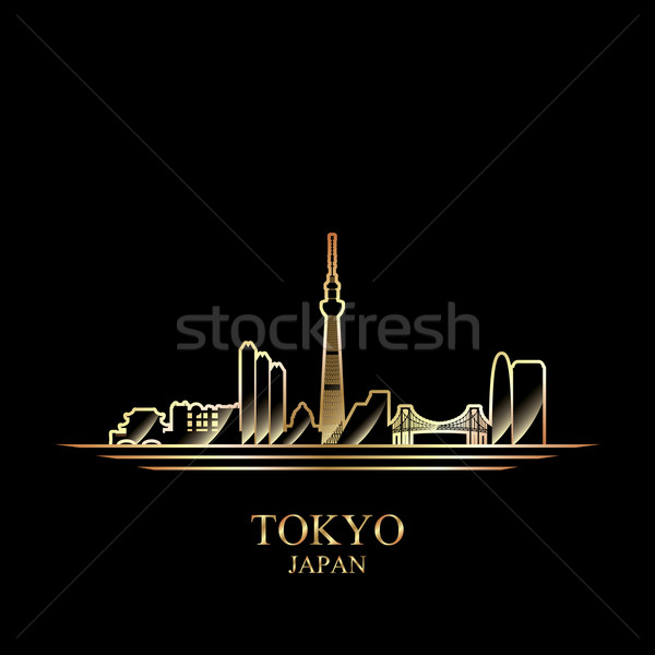 Stock photo: Gold silhouette of Tokyo on black background