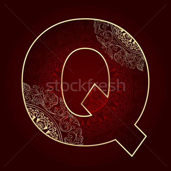 Vintage alphabet with floral swirls, letter Q Stock photo © Ray_of_Light
