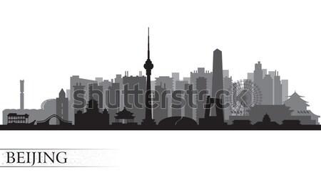 Peking városkép sziluett vektor illusztráció épület Stock fotó © Ray_of_Light