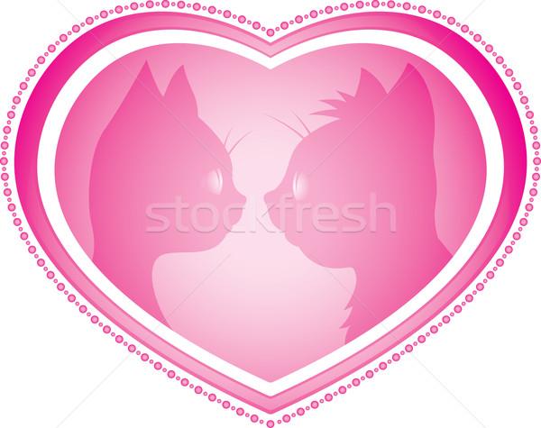 Valentin nap kártya macskák égbolt szív macska Stock fotó © Ray_of_Light