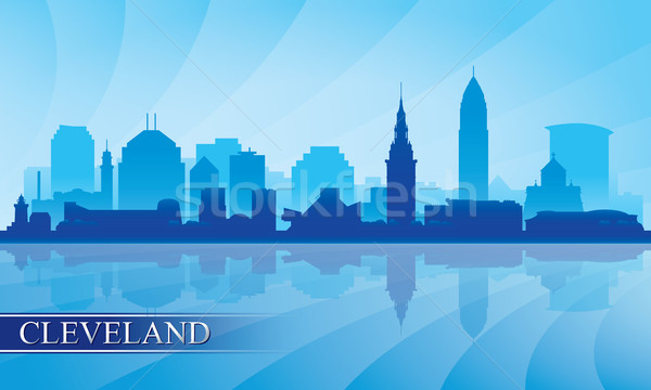 Cleveland city skyline silhouette background Stock photo © Ray_of_Light