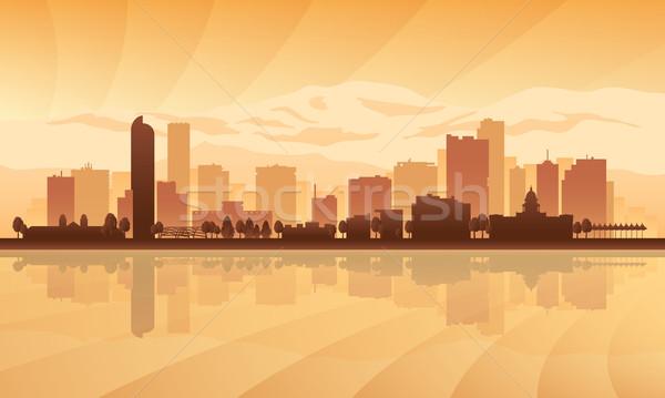 силуэта здании Восход Skyline фары Сток-фото © Ray_of_Light