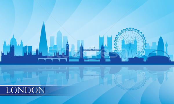 Foto stock: Londres · silhueta · céu · edifício · pôr · do · sol
