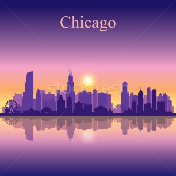 Chicago városkép sziluett égbolt épület éjszaka Stock fotó © Ray_of_Light