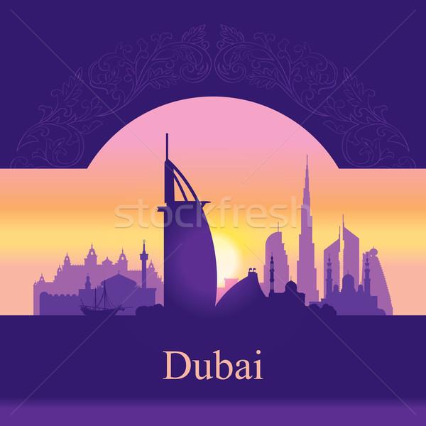 Stock fotó: Dubai · sziluett · sziluett · naplemente · épület · utazás