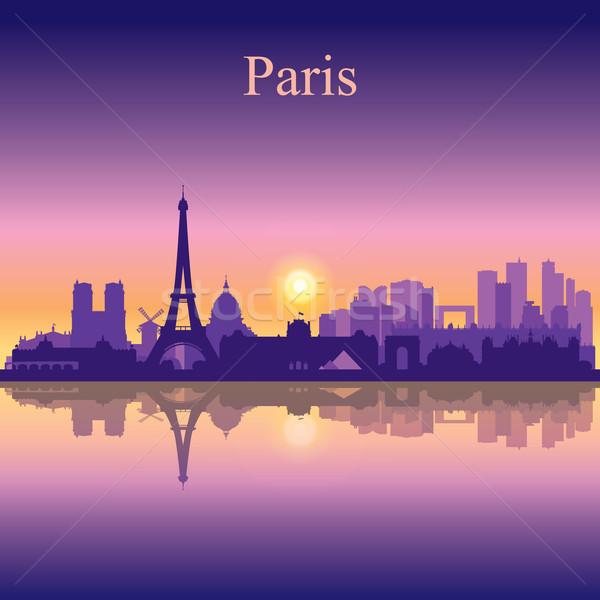 París silueta cielo edificio amanecer Foto stock © Ray_of_Light