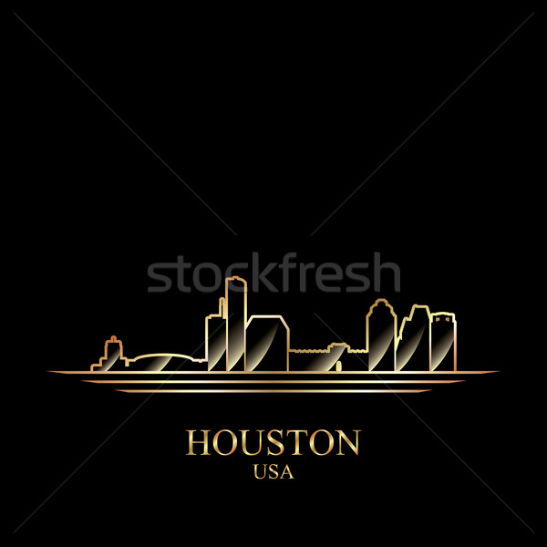 Or silhouette Houston noir Voyage Skyline Photo stock © Ray_of_Light