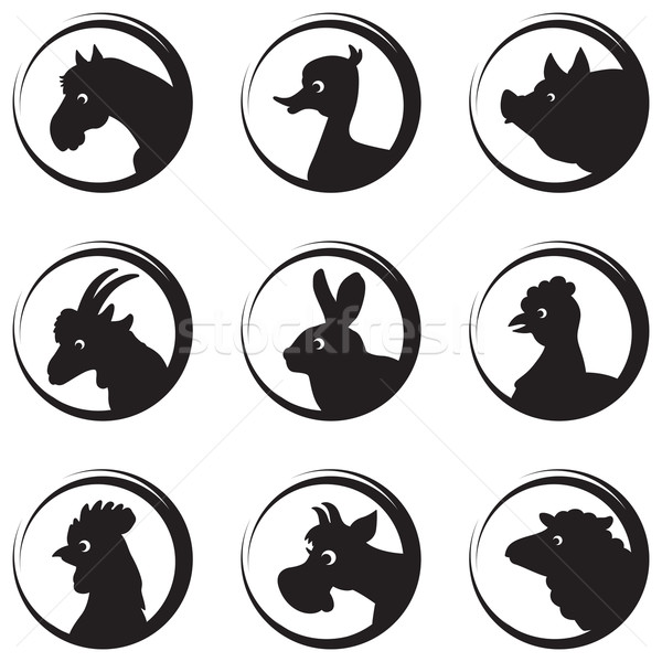 Stock photo: Farm animals and birds vector silhouette icon set