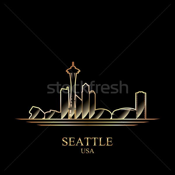 Or silhouette Seattle noir Skyline architecture Photo stock © Ray_of_Light