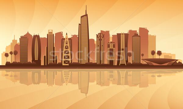 Dubai tornyok sziluett sziluett város illusztráció Stock fotó © Ray_of_Light