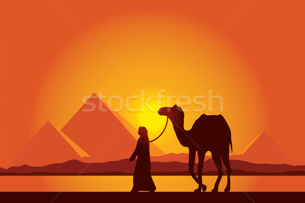 Stock photo: Egypt Great Pyramids with Camel caravan on sunset background