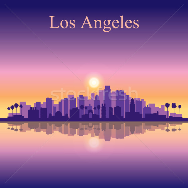 Los Angeles silhouette bâtiment coucher du soleil nuit Photo stock © Ray_of_Light