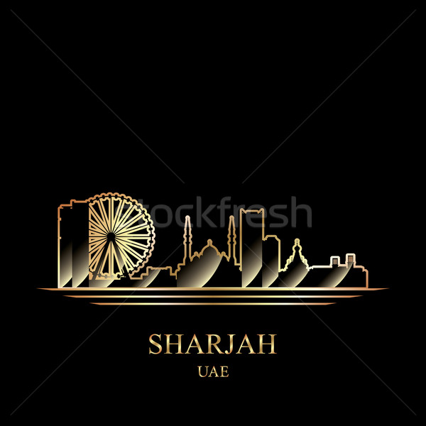 Gold silhouette of Sharjah on black background Stock photo © Ray_of_Light
