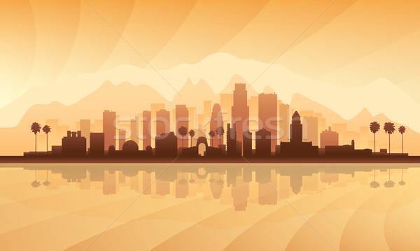Los Angeles városkép részletes sziluett város naplemente Stock fotó © Ray_of_Light