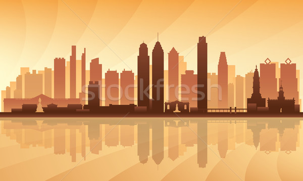 Philadelphia gedetailleerd silhouet hemel stad Stockfoto © Ray_of_Light