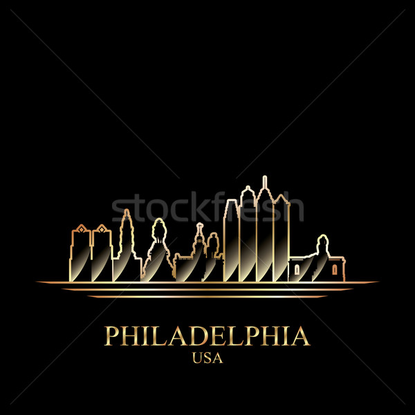 Goud silhouet Philadelphia zwarte skyline architectuur Stockfoto © Ray_of_Light