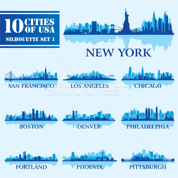 Silhouette city set of USA 1 Stock photo © Ray_of_Light