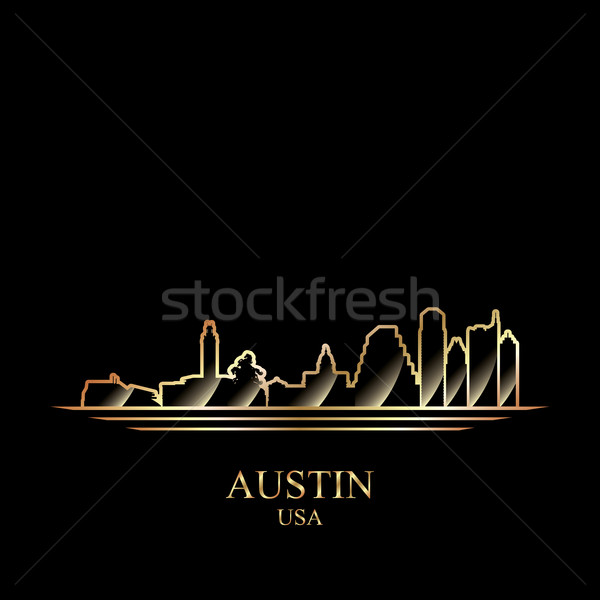 Oro silueta austin negro cielo edificio Foto stock © Ray_of_Light