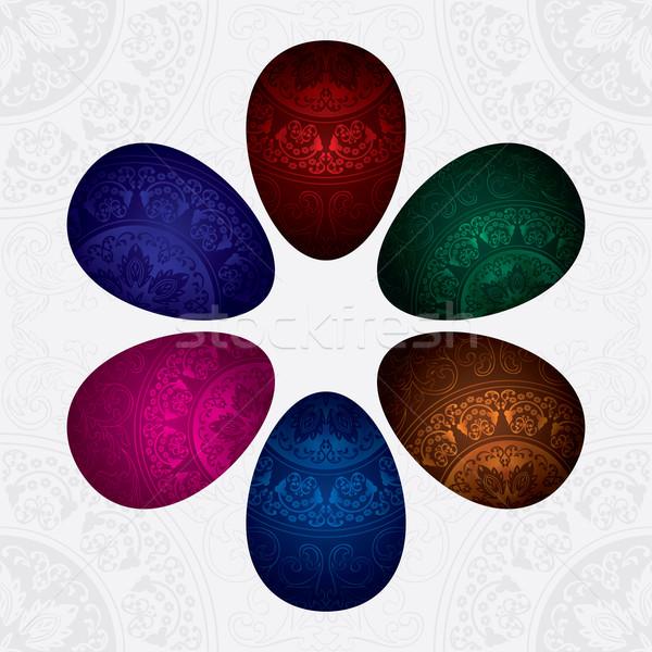 Színes díszített húsvéti tojások textúra tavasz absztrakt Stock fotó © Ray_of_Light