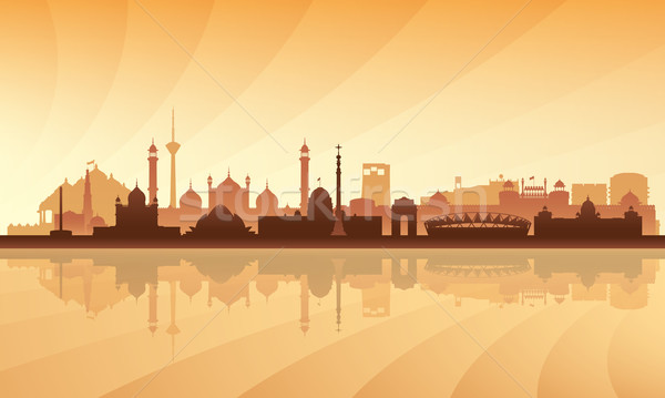Delhi silhouette bâtiment coucher du soleil sunrise Photo stock © Ray_of_Light