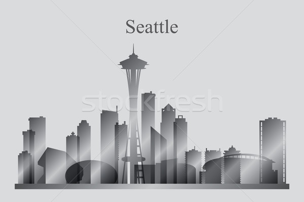 Seattle silhouette Skyline architecture gratte-ciel Photo stock © Ray_of_Light