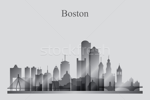 Boston city skyline silhouette in grayscale Stock photo © Ray_of_Light