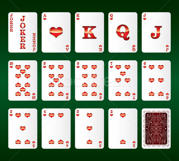 Kártyapakli vektor összes szívek szett arc Stock fotó © Ray_of_Light