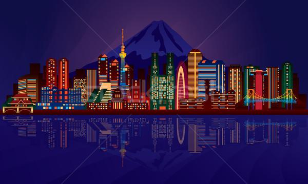 Tokió éjszakai város sziluett vektor sziluett illusztráció Stock fotó © Ray_of_Light