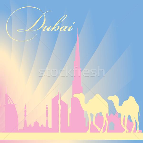 Dubai városkép sziluett nap kék utazás Stock fotó © Ray_of_Light