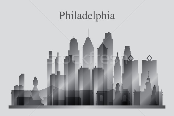 Philadelphia city skyline silhouette in grayscale Stock photo © Ray_of_Light