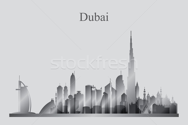 Dubaï silhouette Voyage hôtel Skyline Photo stock © Ray_of_Light