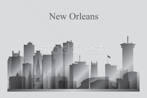 New Orleans city skyline silhouette in grayscale Stock photo © Ray_of_Light