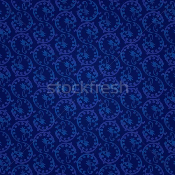 Stock fotó: Kék · klasszikus · virágmintás · végtelen · minta · vektor · virág
