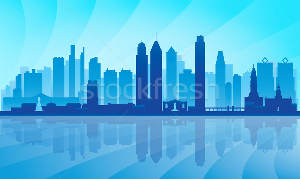 Philadelphia city skyline detailed silhouette Stock photo © Ray_of_Light