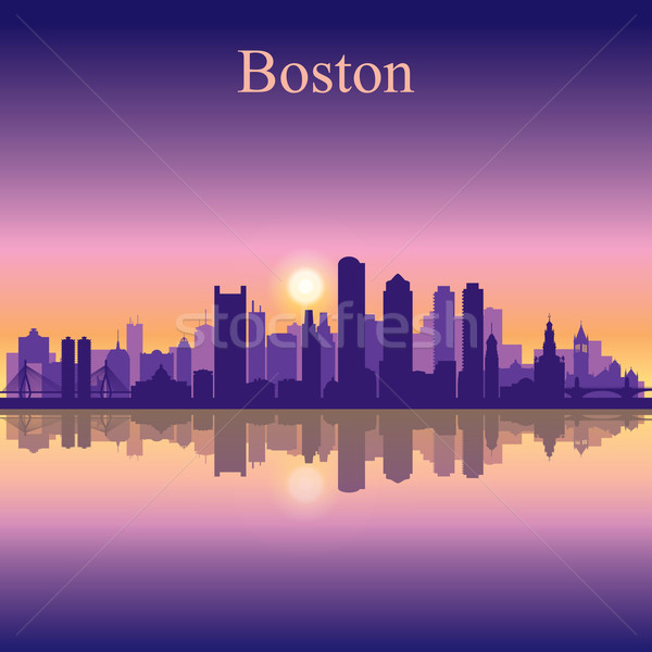 Boston city skyline silhouette background Stock photo © Ray_of_Light