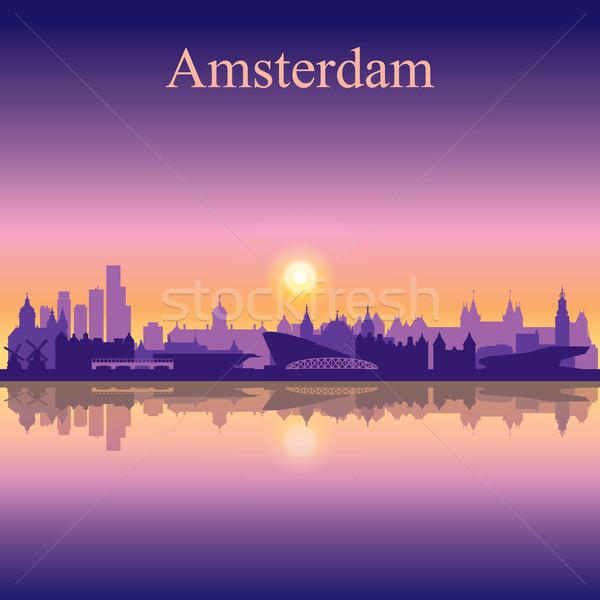 Amszterdam városkép sziluett égbolt épület napfelkelte Stock fotó © Ray_of_Light