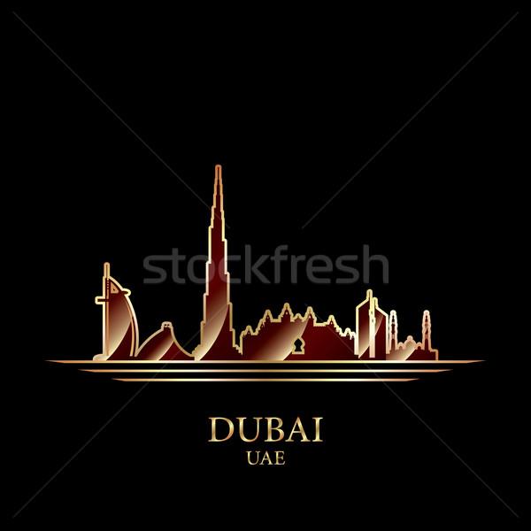 Stock fotó: Arany · sziluett · Dubai · fekete · város · utazás