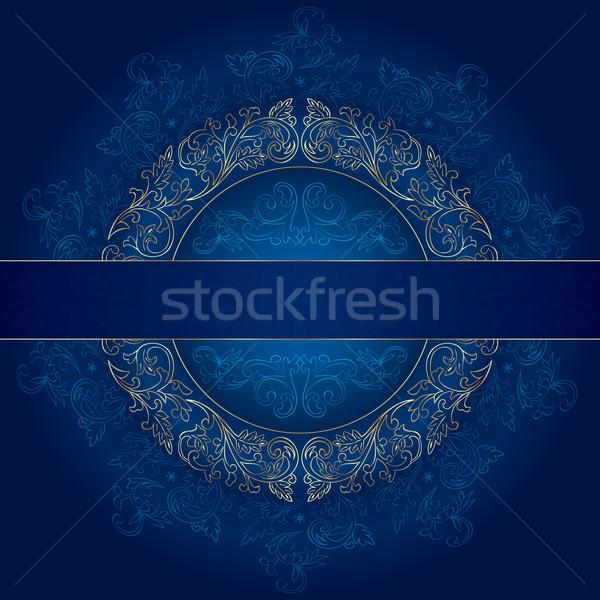 Virágmintás arany keret klasszikus minták kék Stock fotó © Ray_of_Light
