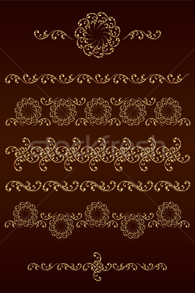 Set of vector borders with floral elements Stock photo © Ray_of_Light