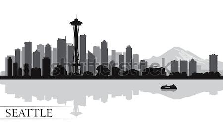 Seattle silhouet gebouw skyline architectuur Stockfoto © Ray_of_Light