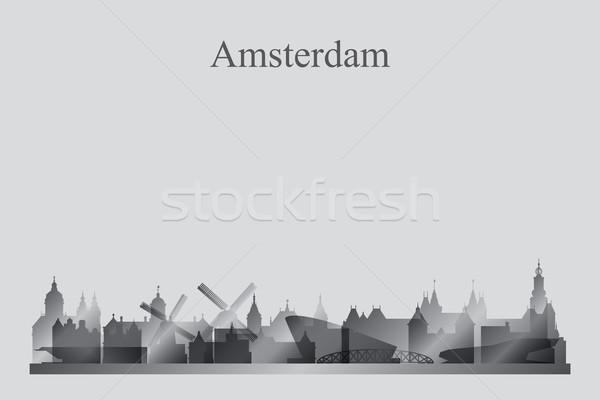 Amsterdam silhouet hemel zonsondergang skyline Stockfoto © Ray_of_Light