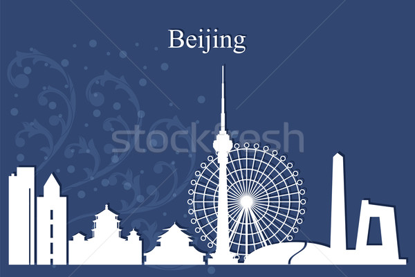 Beijing city skyline silhouette on blue background Stock photo © Ray_of_Light