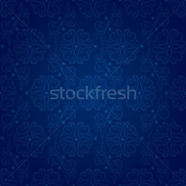 Virágmintás klasszikus végtelen minta kék vektor textúra Stock fotó © Ray_of_Light