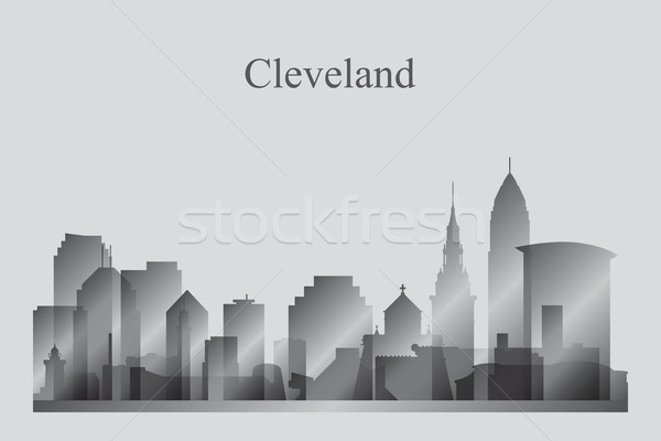 Cleveland city skyline silhouette in grayscale Stock photo © Ray_of_Light