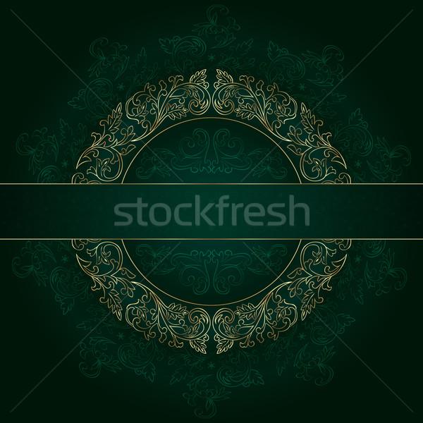 Virágmintás arany keret klasszikus minták zöld Stock fotó © Ray_of_Light