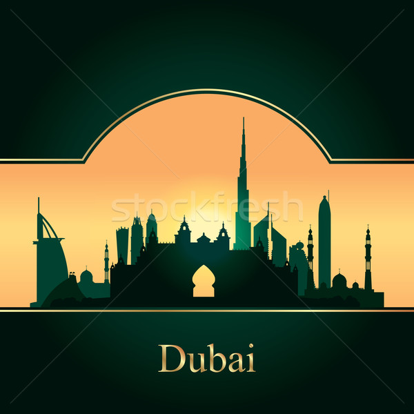 Stock fotó: Dubai · sziluett · sziluett · naplemente · épület · zöld