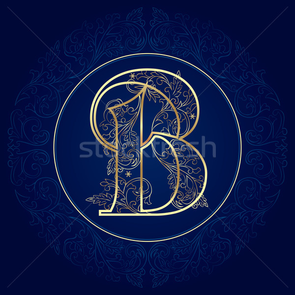 Vintage floral alphabet, letter B Stock photo © Ray_of_Light