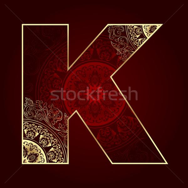 Klasszikus ábécé virágmintás örvények levél művészet Stock fotó © Ray_of_Light