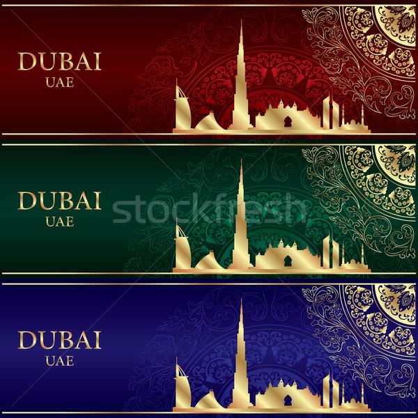 Szett Dubai sziluett sziluett klasszikus zöld Stock fotó © Ray_of_Light